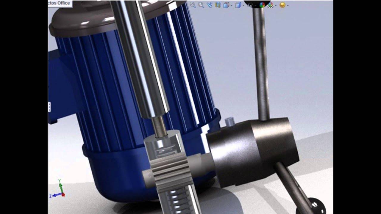 Proyecto final de cad cam animacion de taladro de columna for Mecanismos de estores caseros