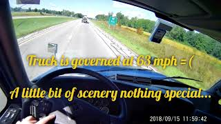 Truck driving point of view from drivers perspective