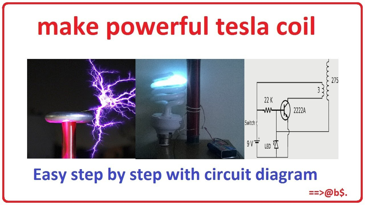 how to make powerful tesla coil at home easy step by step with circuit diagram [ 1280 x 720 Pixel ]