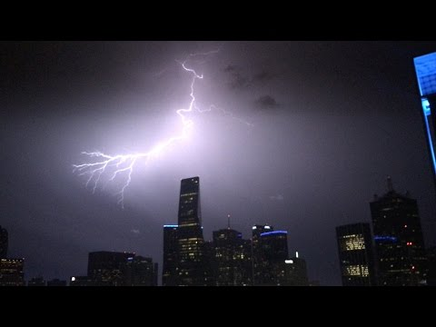 [4K] Evening Lightning Storm In Dallas, Texas | April 30, 2017