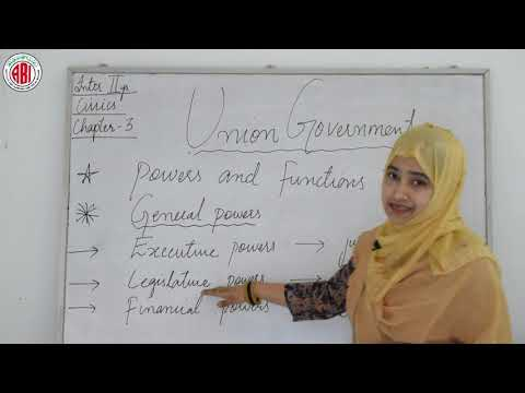 """Inter 2nd year_Civics_Chapter 03_Part 01_""""Union Government"""""""