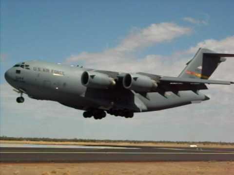 USAF C17 landing at YBAS