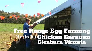 Free Range Egg Farming Australia.  Chicken Caravan Glenburn Victoria