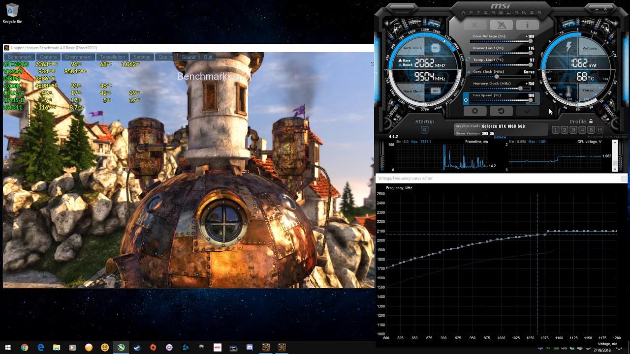 Heaven 4 0 - GTX 1060 6gb OC + MSI Afterburner Settings Unlocked Voltage