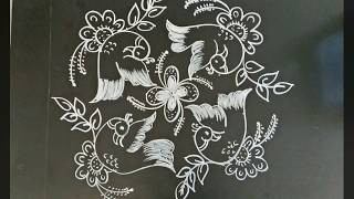 Rangoli designs..birds..simple N easy...7 to 7 dots
