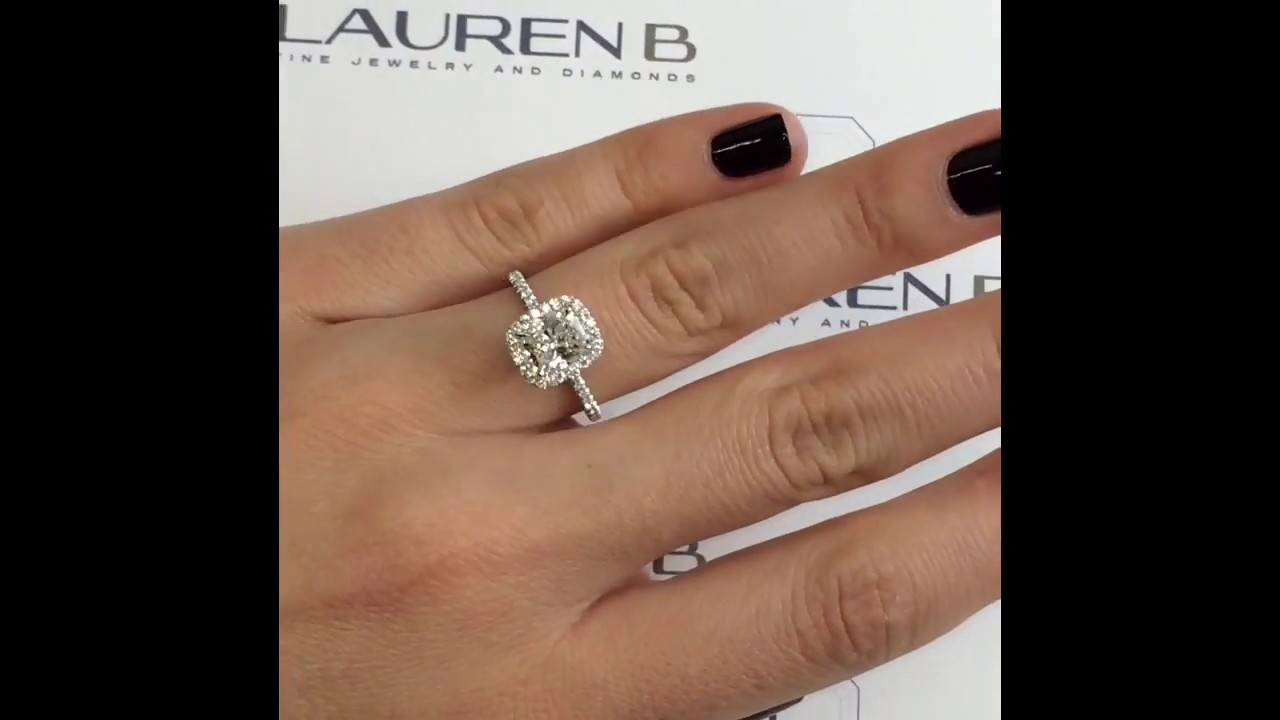 1 50 Ct Cushion Cut Diamond Halo Engagement Ring