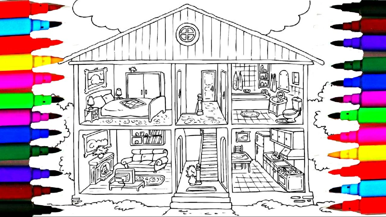 Bathroom drawing for kids - Coloring Pages Bathroom L Bedroom L Dining Room L Washroom Drawing Pages To Color For Kids