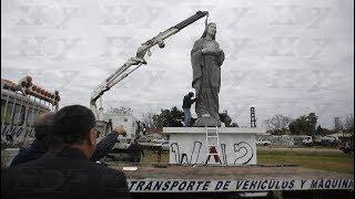 Colocaron la estatua del Sagrado Corazón en el Distribuidor