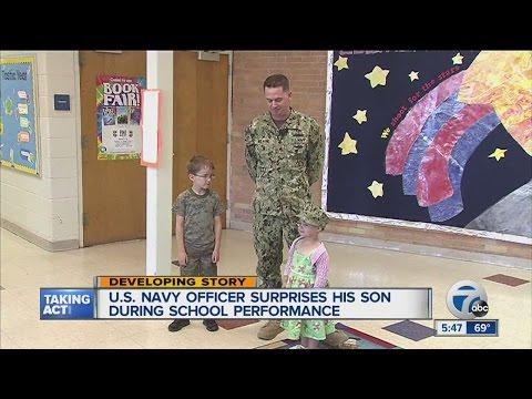 U.S. Navy Officer surprises son at school