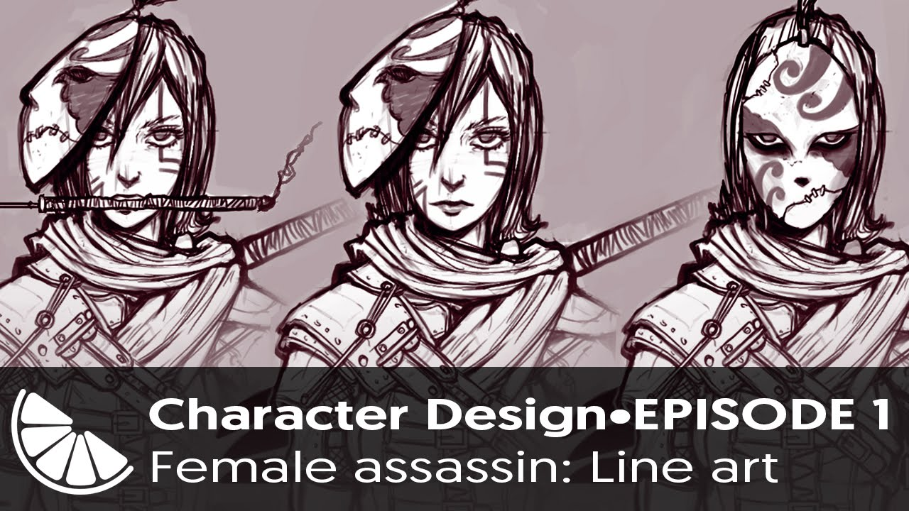 assassin character art character design episode ~female assassin: line art