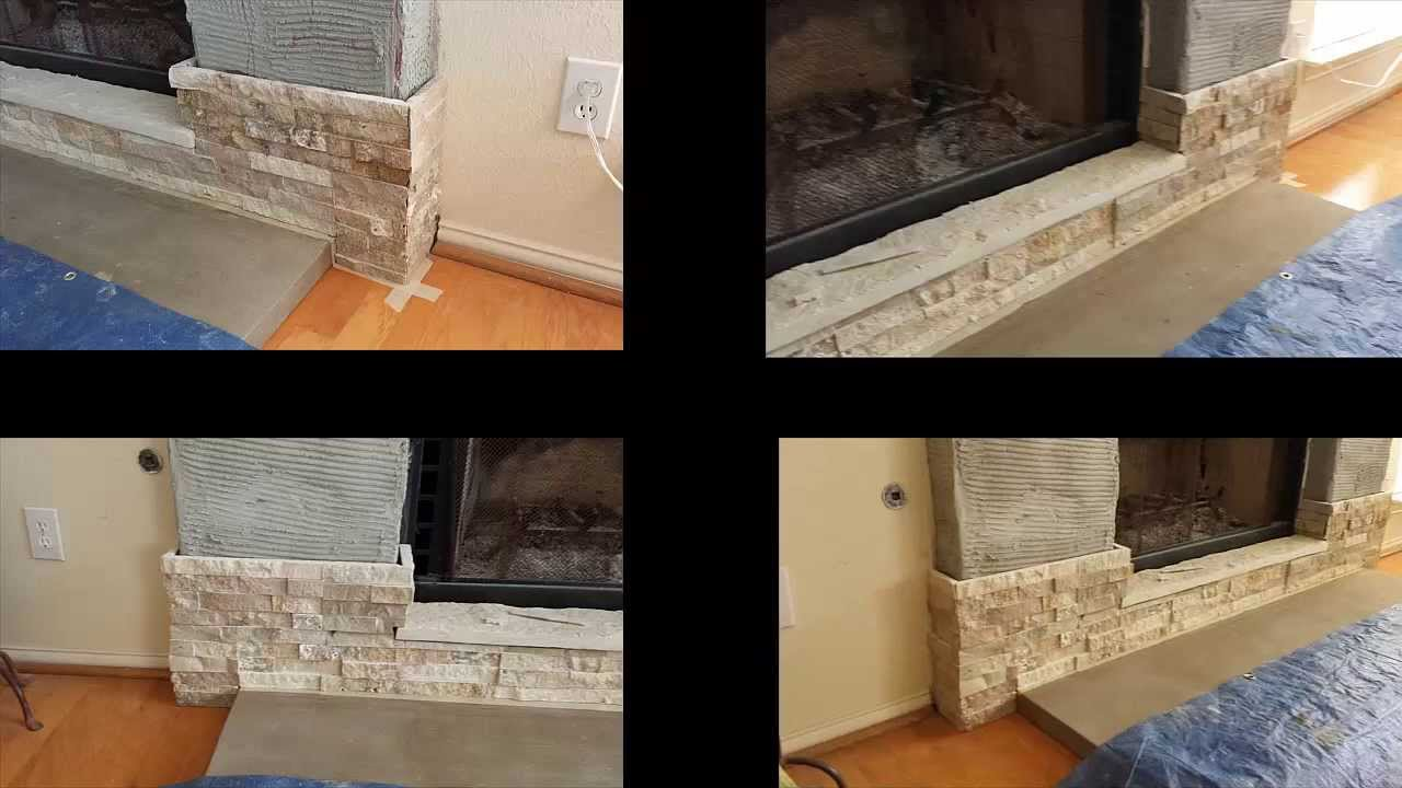 How to build a stone veneer fireplace with wood mantel YouTube