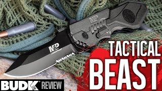 Smith & Wesson M&P Assisted Opening MP4L Tactical Pocket Knife Serrated - $44.99