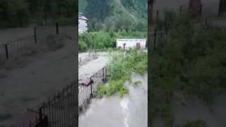 Домбай ливень сель потоп 04.07.2017  #наводнение #домбай #ливень #град(3)