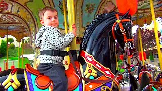 Funny carousel. Outdoor playground fun for kids.   Video from BOGDAN`S SHOW