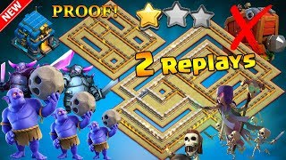 BEST TH12 WAR BASE 2018 Anti 2 Star With 2 Replays Anti BoWitch,Electro Dragon,Queen Walk,Hog PROOF!