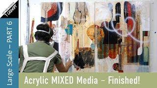 Pamela Caughey - Acrylic Mixed Media -Part 6 - FINISHED!!! Spray Paint!  ❤️❤️❤️