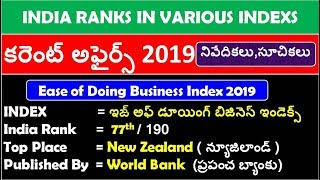 Download India Ranks In Different Indexs 2019  in Telugu  last 6 current affairs 2019 in telugu Mp3 and Videos