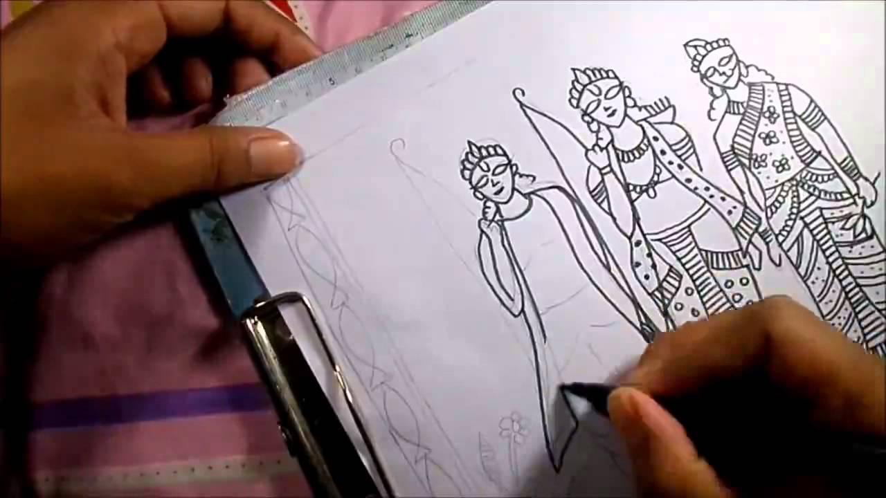 Madhubani painting lord ram along with lakshman and maa sita youtube