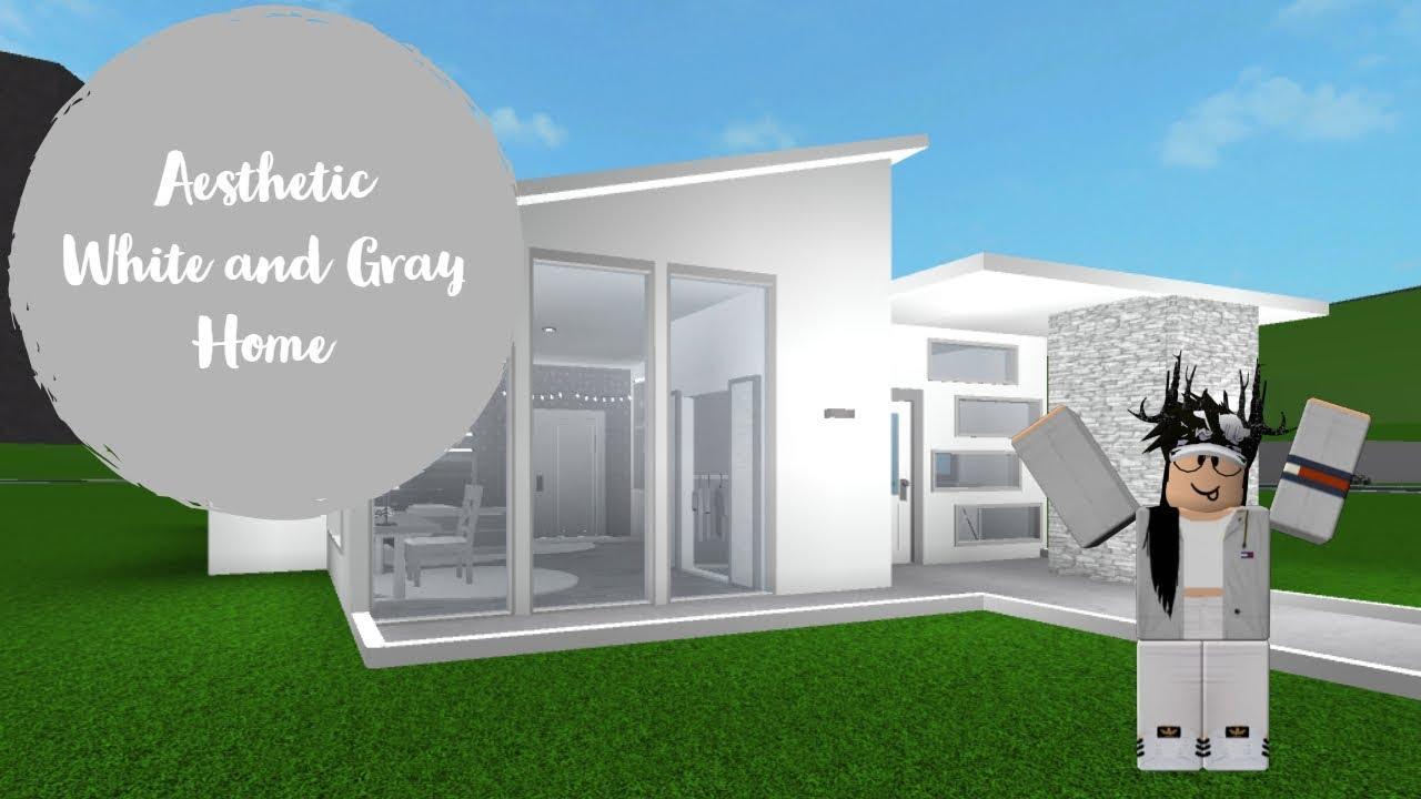 Bloxburg 25k One Story White Aesthetic Home Speedbuild Youtube