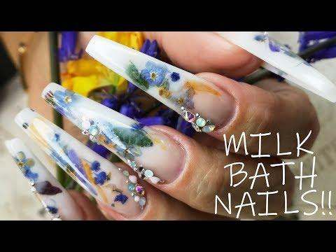 Milk Bath Acrylic Nails with REAL FLOWERS thumbnail