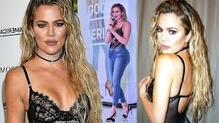 Khloe Kardashian N!pple Exposed In Bra-less Sheer Top At Good America Launch !! | Hollywood Daily