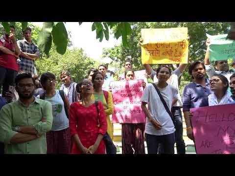 Newly Elected JNUSU President Geeta Kumari addressing the students protesting in defense of GSCASH