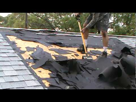Tearing Off Burnt Roof.mpg