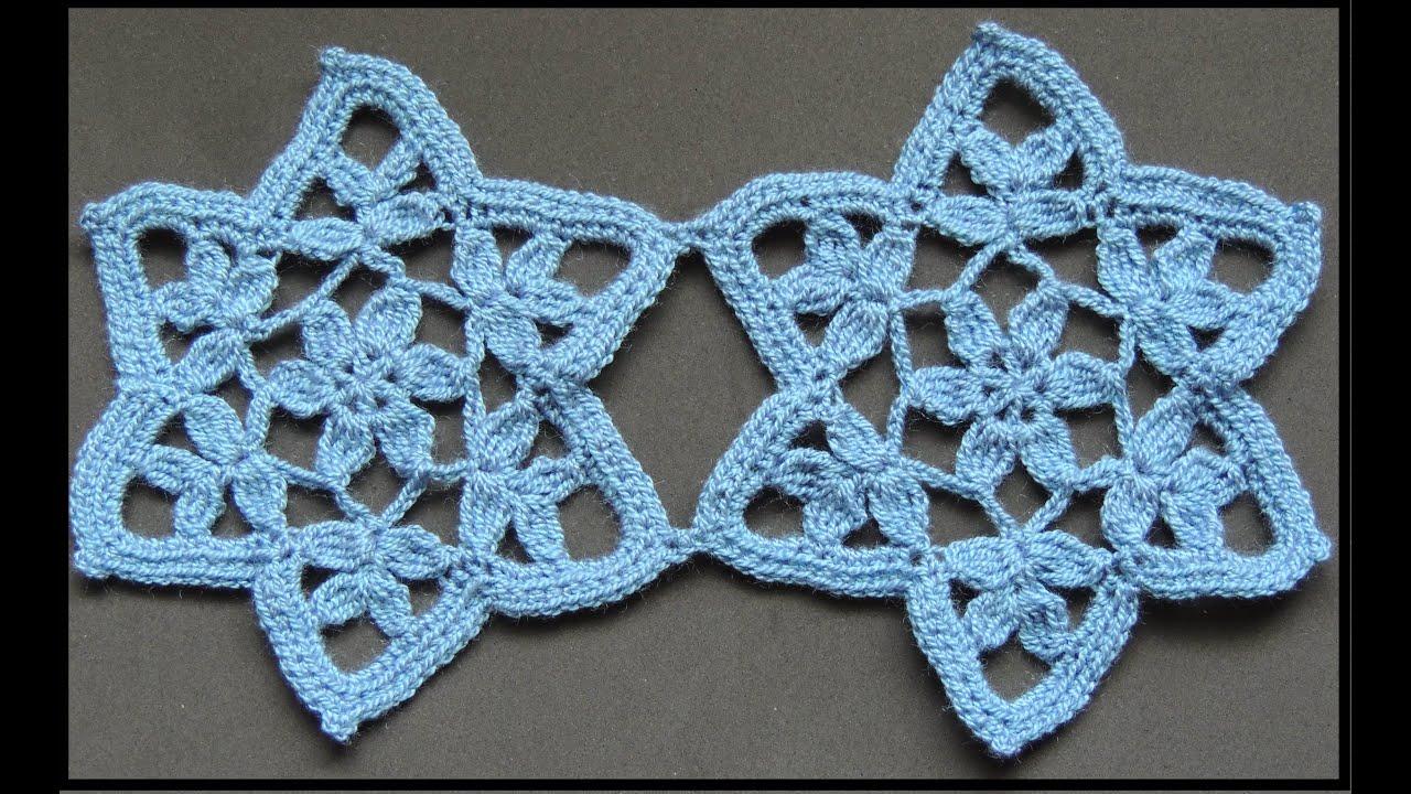 Crochet : Motivo Estrella con Flor. Parte 1 de 2 - YouTube