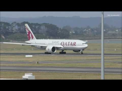 Worlds Longest Flight Qatar Airways Boeing 777-200LR Takeoff Auckland Airport