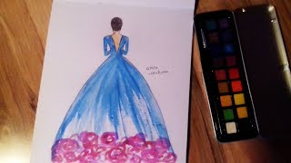 How To Draw a Beautifull Dress With Watercolor
