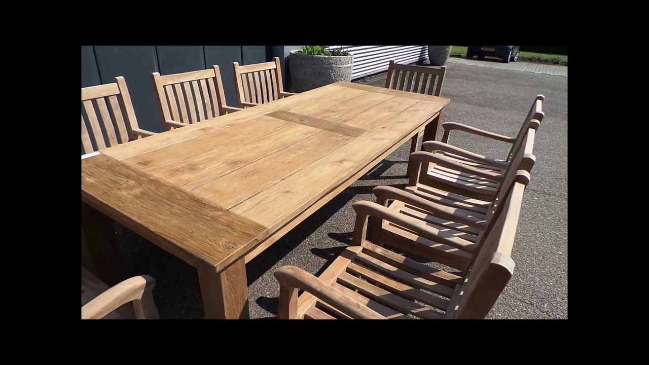 teak tuintafel 240 teak gartentisch 240 youtube. Black Bedroom Furniture Sets. Home Design Ideas