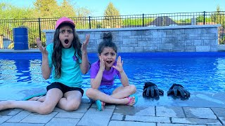 Deema and Sally with Monster in the Swimming pool stories
