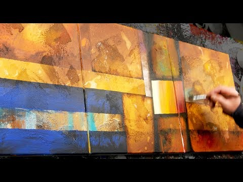 Abstract Painting Demo Acrylics using brush, masking tape and modeling paste - Scoff - John Beckley