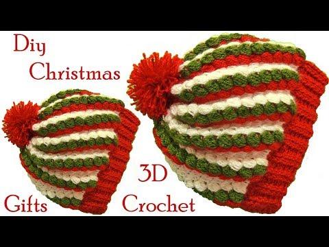 Gorro a Crochet punto 3D gomitas colores de Navidad tejido tallermanualperu