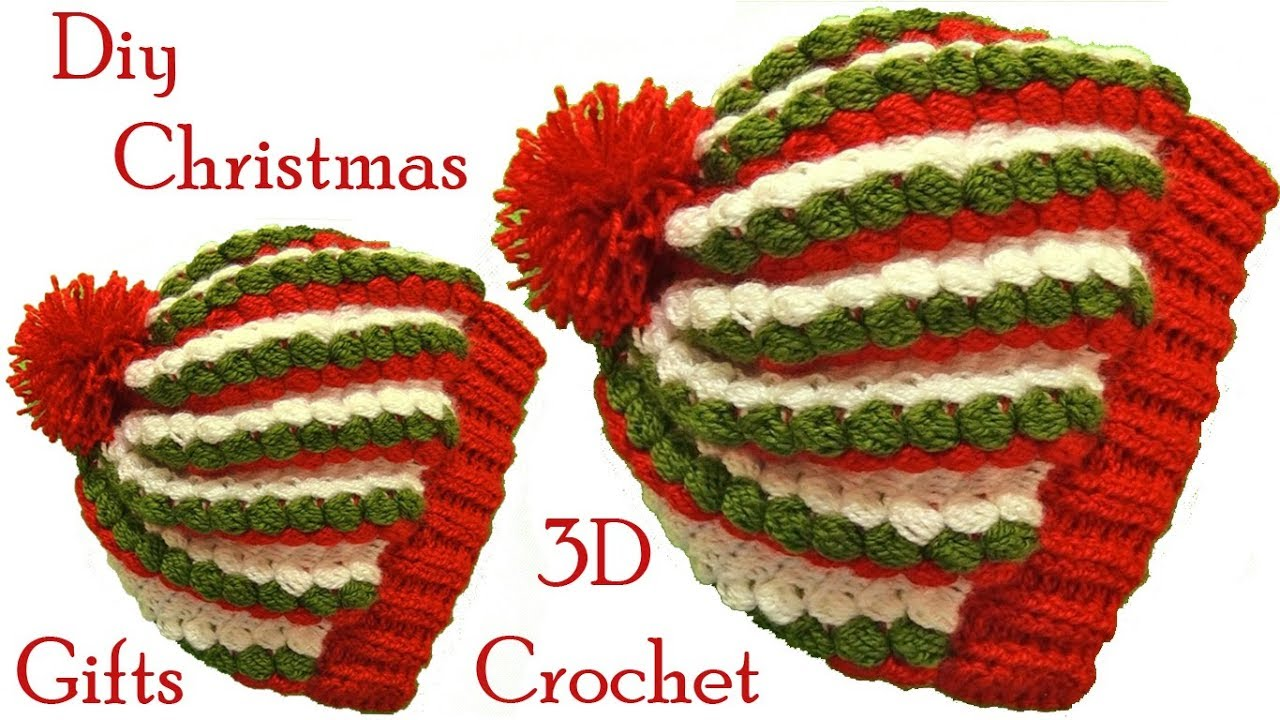 e158483c4 Gorro a Crochet punto 3D gomitas colores de Navidad tejido tallermanualperu