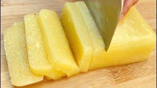 自从学会菠萝这种吃法,我家隔三差五就做一次,Q弹爽滑,超解馋 अनानास