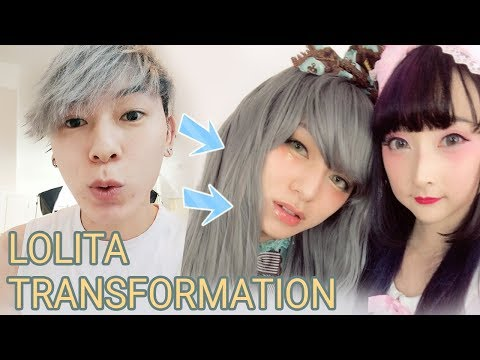 watch me transform - boy to dolly lolita girl makeup + clothes with RINRINDOLL ロリィタ | Portrait Full