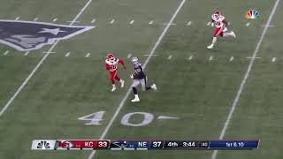Rob Gronkowski with the Throw away stiff arm  in route to Patriots victory