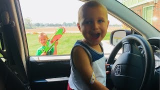 Kids Drive Car to Town To Toys 'R' Us!