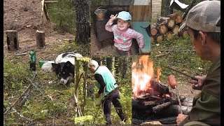 ВСЕЙ СЕМЬЁЙ! Типа ВЫЖИВАНИЕ))) Отличный отдых у ЗЕМЛЯНКИ. Ягоды и грибы. Dugout in the forest