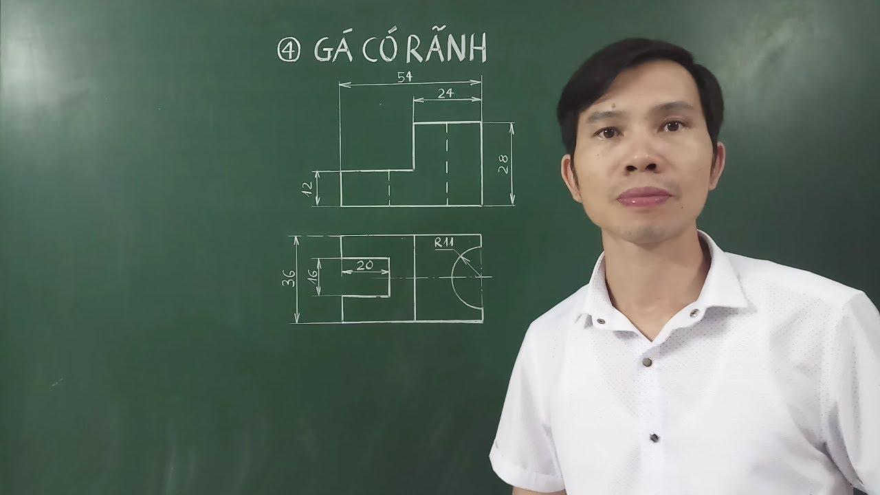 Vẽ hình chiếu trục đo - Hình cắt - Hình chiếu cạnh Gá có rãnh - Hình 4 Bài 6 SGK Công nghệ 11