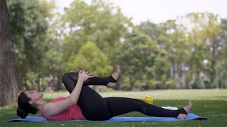 Healthy Indian woman in sportswear doing yoga asanas - fitness concept