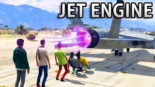 GTA V - Can Jet Engine melt a Human, Car...
