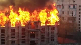 Пожар в Феодосии Разгарание Смотреть всем!!!