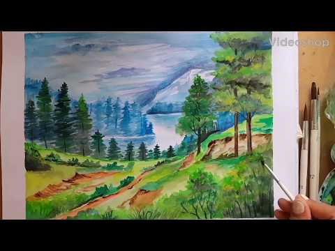 Watercolor Landscape Painting .Watercolor Tutorial of Landscape Step by Step for Beginners