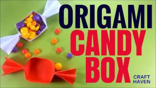 Origami Box - Origami Candy Box - Easy Origami Box Tutorial for Beginners - DIY Paper Box/Container