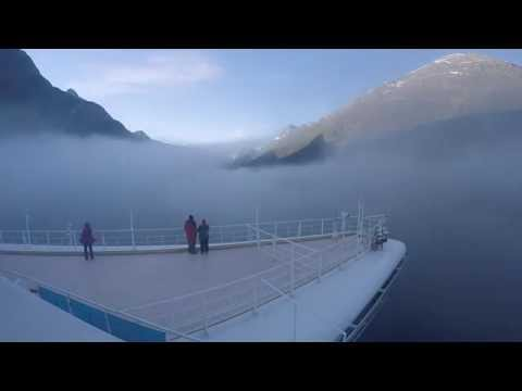 Approaching Olden, Norway in fog on Caribbean Princess 9-1-2015