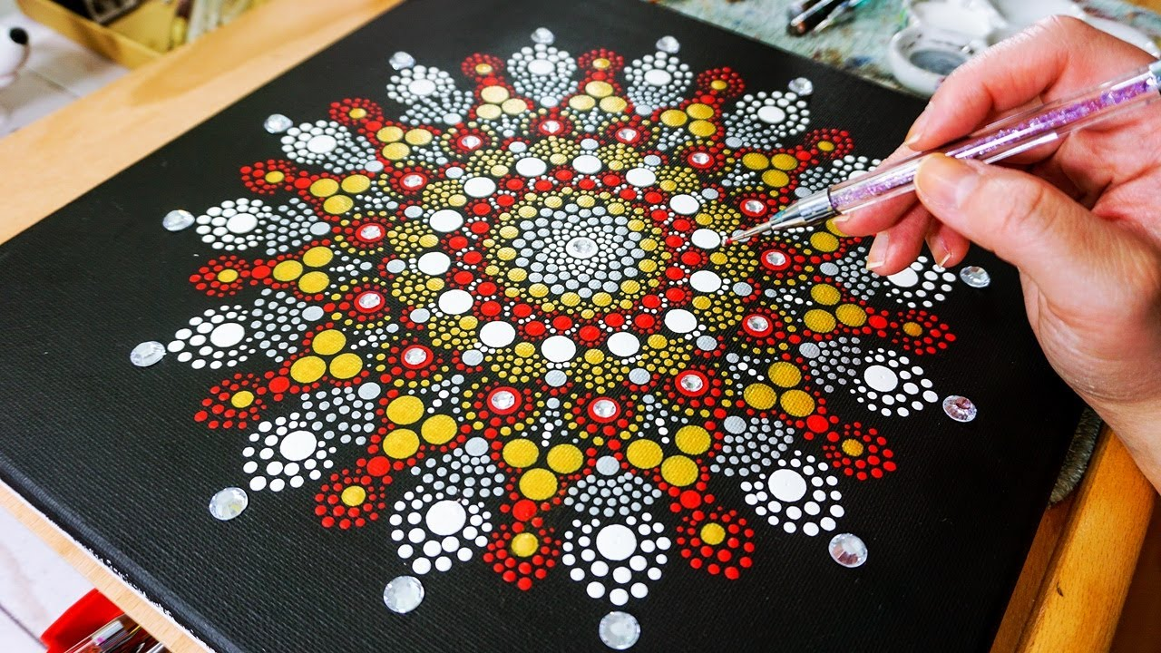 Colorful mandala painting ring in dot painting