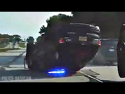 Greenfield Police Department Police Squad Car Rollover Crash (Dashcam).
