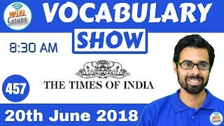 8:30 AM - The Times of India Vocabulary with Tricks (20th June, 2018) | Day #457